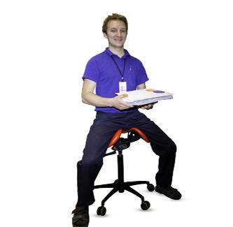 Postal worker using the Salli Saddle Chair