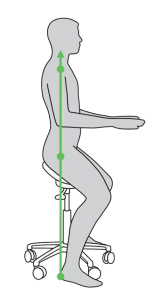 LIne art of a Salli Saddle Chair in use, side view
